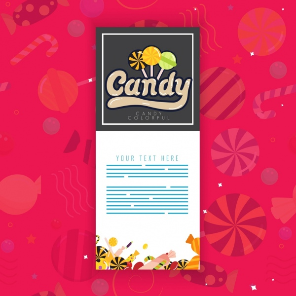 candy advertising banner multicolored symbols decor