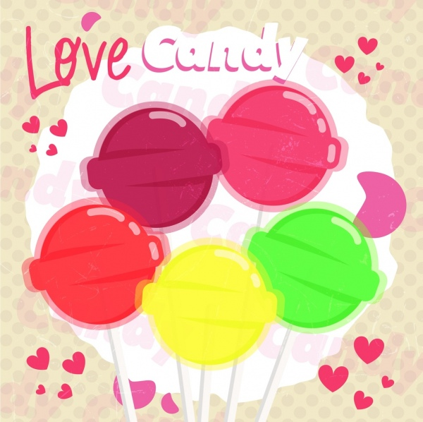 candy background colorful shiny round icons hearts decor