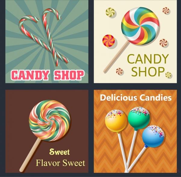 candy background sets multicolored shiny decor