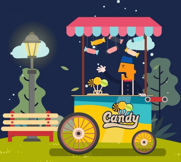 candy sale drawing man push cart icons