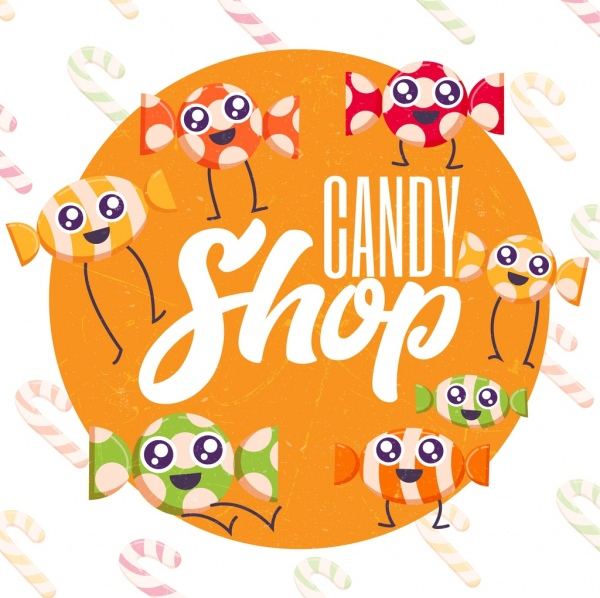 candy shop advertising cute stylized icons circle layout
