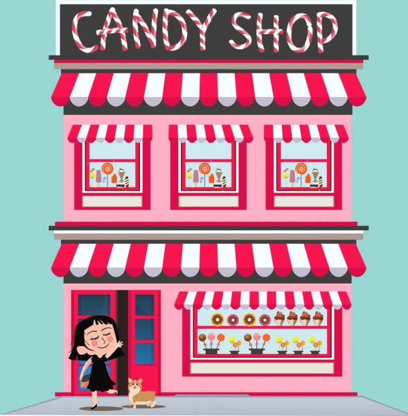 candy shop facade decoration pink design cartoon character