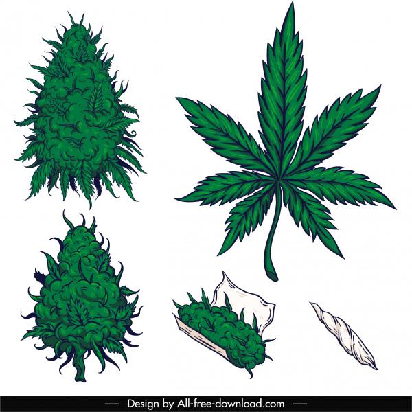 cannabis cigarette design elements classic handdrawn sketch