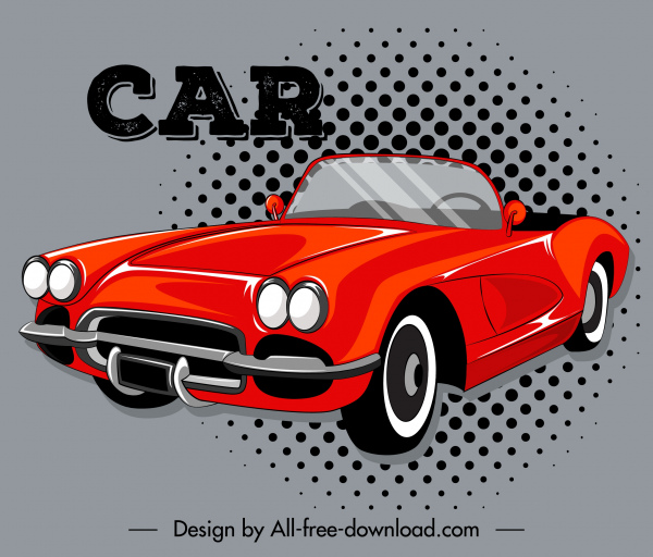 car advertising background red 3d sketch