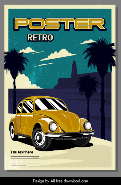 car advertising poster colored retro design