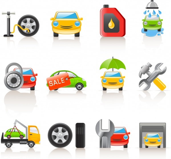car services icons shiny colored modern design