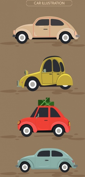 car icons collection various colored types cartoon design