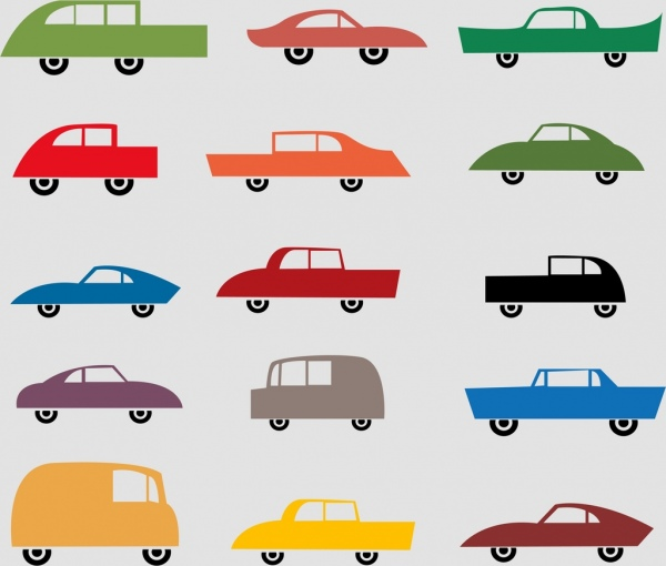 car icons collection various types flat colored design