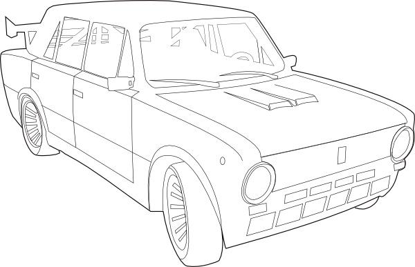 Car Lada Outline clip art