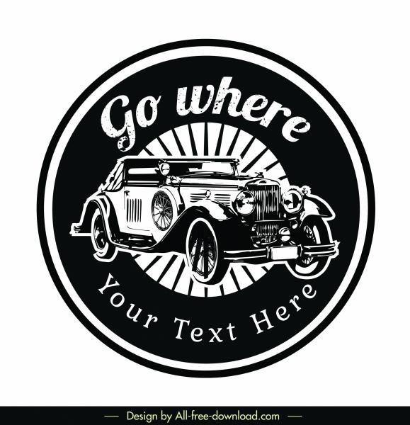 car logotype black white retro design