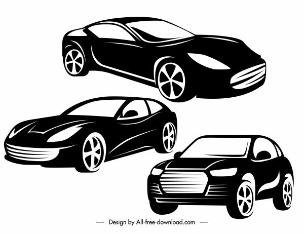 car models icons black white silhouette sketch