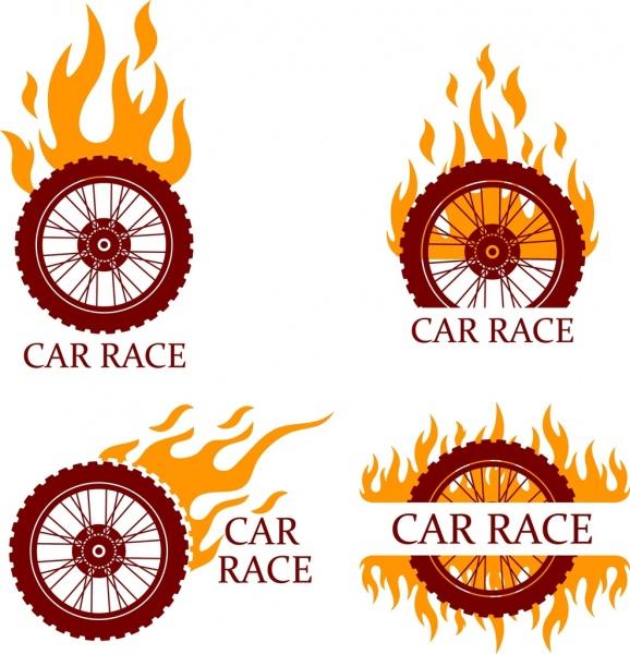 car race design elements flaming bike wheels isolation