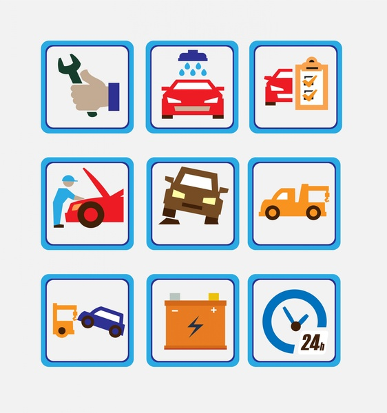 Car Service Icons Isolated In Square Symbols Free Vector In Adobe