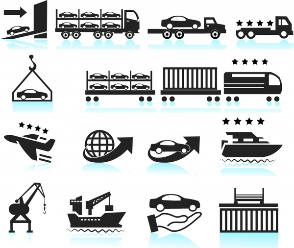 Car Shipping Delivery icon set