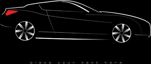 black sports car design silhouette design style