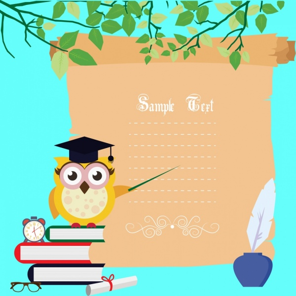 card background owl books icons colored stylized cartoon
