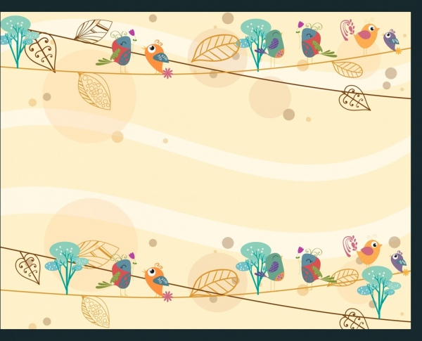 card background template autumn style leaves bird decor