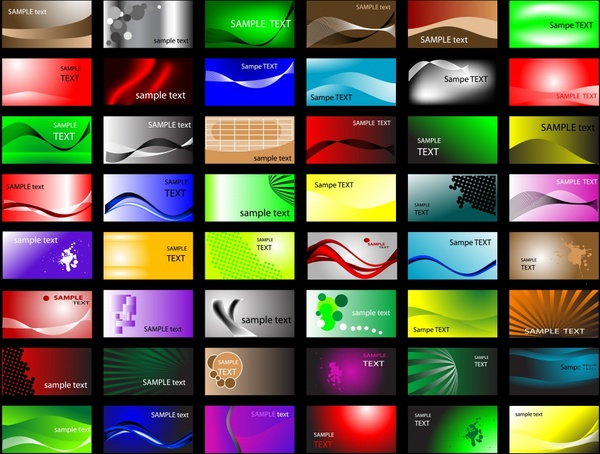 card templates colorful modern abstract design