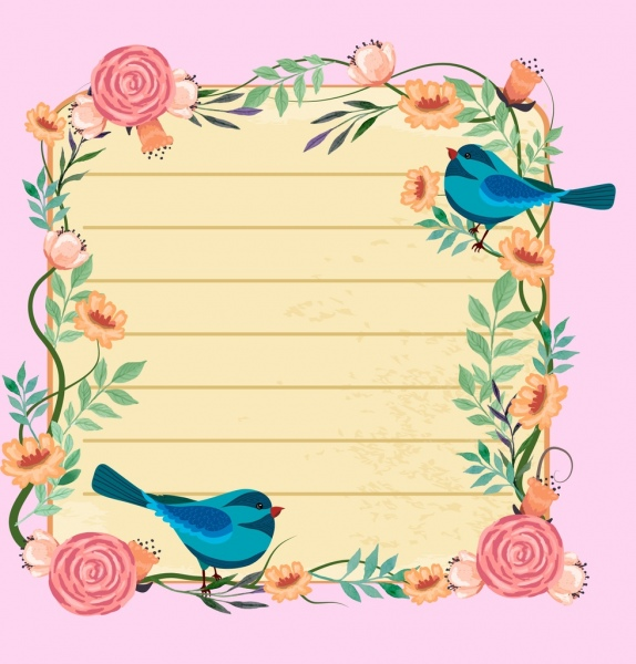 card border template flowers birds icons decoration free vector in