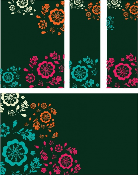 card cover background sets colorful flat flowers