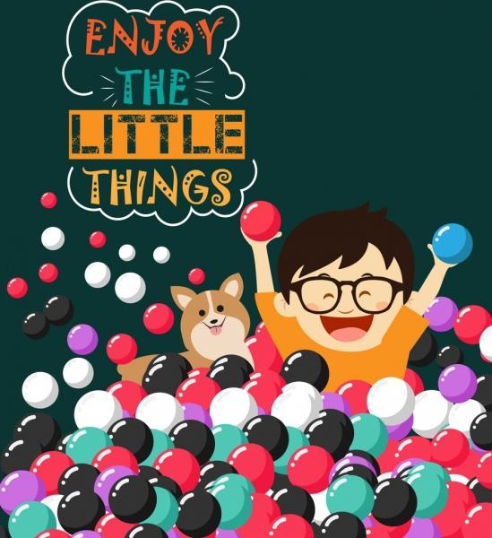 card cover design joyful boy balls icons decor