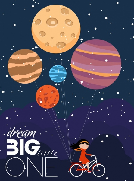 card cover template dreaming style planet girl icons free vector in