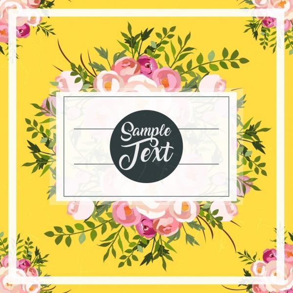 card cover template multicolored flowers decor classical design