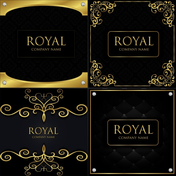 card cover templates elegant black yellow decoration