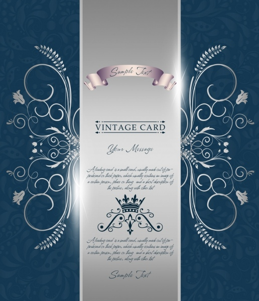 card decorative template shiny silver decor classical curves