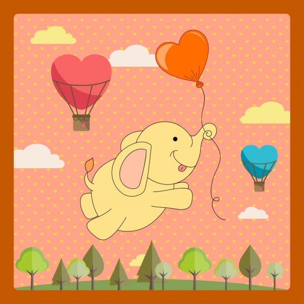 card template cute baby elephant balloon decor