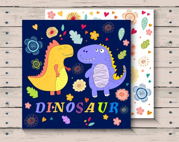 card template cute dinosaur icons colorful floral decor