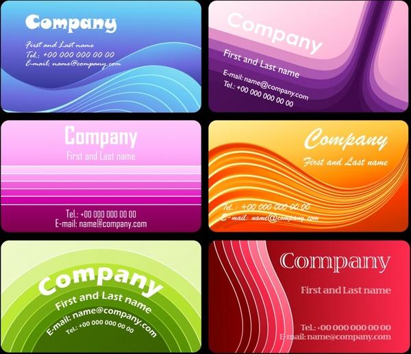 business card templates colorful dynamic curves decor