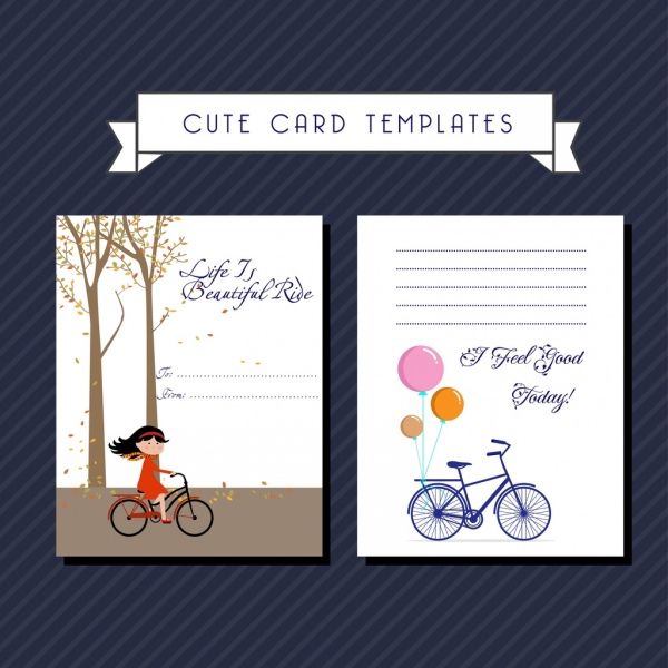 card templates autumn background bicycle ornament