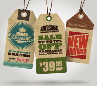 cardboard sale tag vector