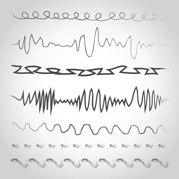 cardiogram design elements seamless black white sketch