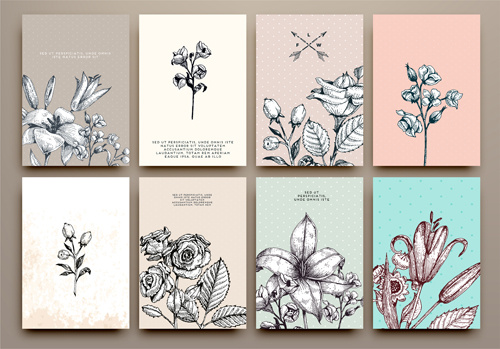cards flowers hand drawing vector