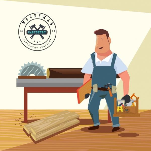 carpentry work advertisement male icon colored 3d design