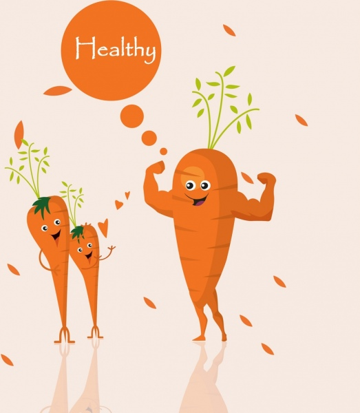 carrot promotion banner muscle icon cute stylization