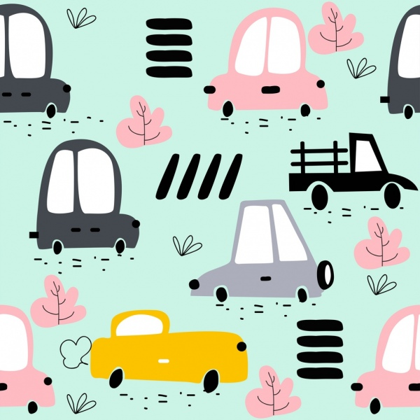 cars background cute decor colored handdrawn icons