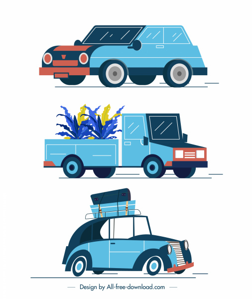 cars models icons colored classical sketch