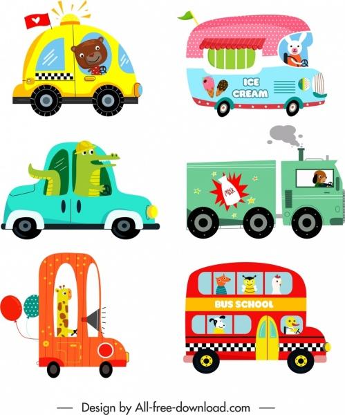cars vehicles icons cute cartoon sketch flat design