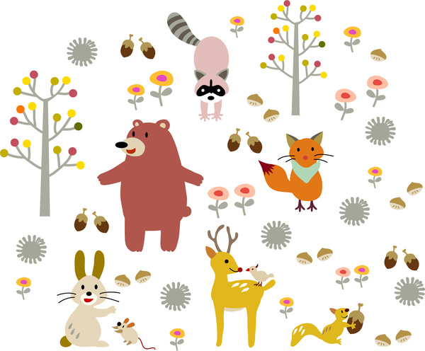 cartoon animal and tree set