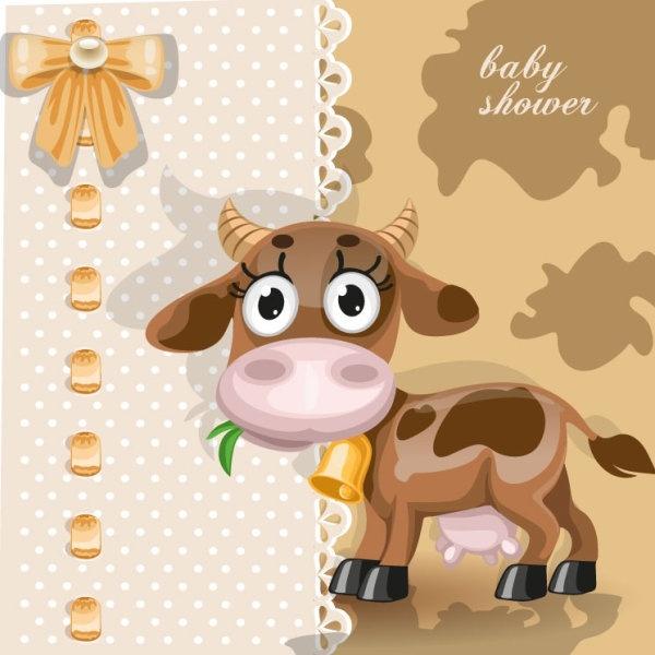 cartoon animal card 03 vector