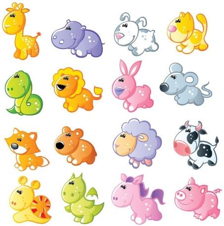 cartoon animals 01 vector