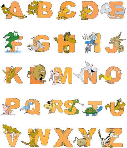 cartoon animals and alphabet vector