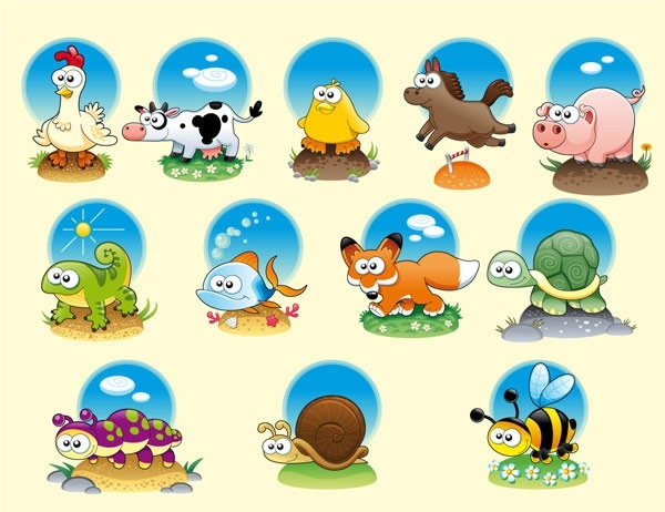 cartoon icons collection cute cartoon characters colored design