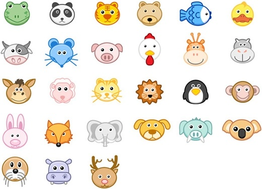 animals species icons colored faces sketch