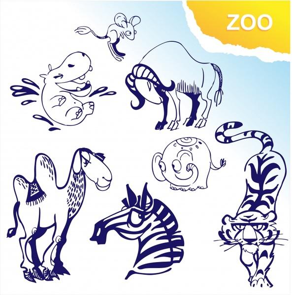 animals icons flat handdrawn sketch