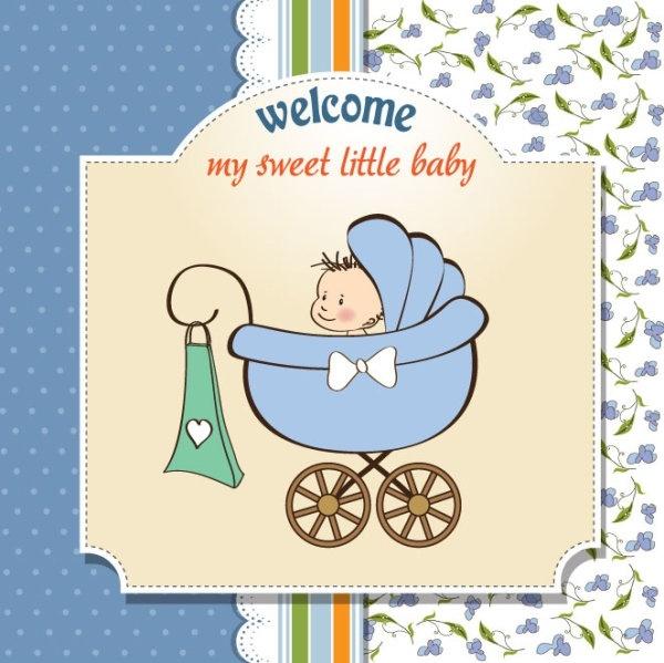 cartoon baby card 03 vector