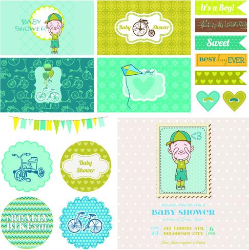 cartoon baby shower cards design vector